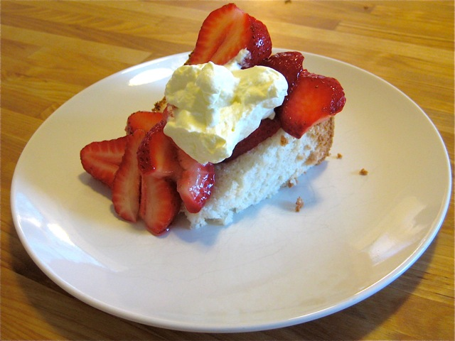 Angel Food Cake With Sugared Strawberries and Whipped Cream