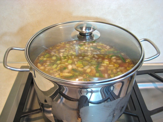 Simmering soup with lid on