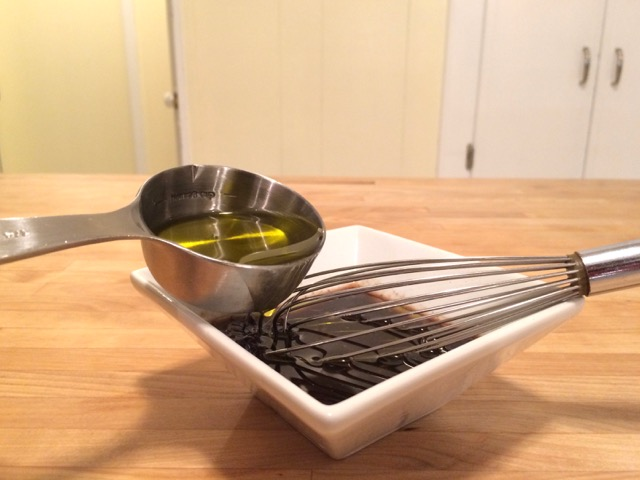 Whisking in olive oil