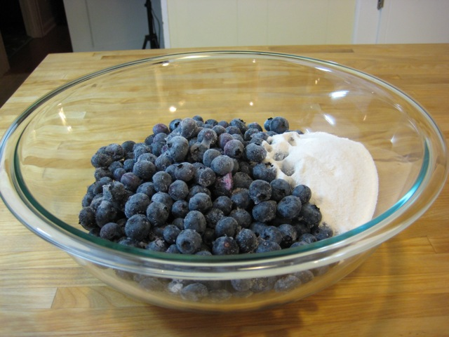 Sugar mixture added to blueberries
