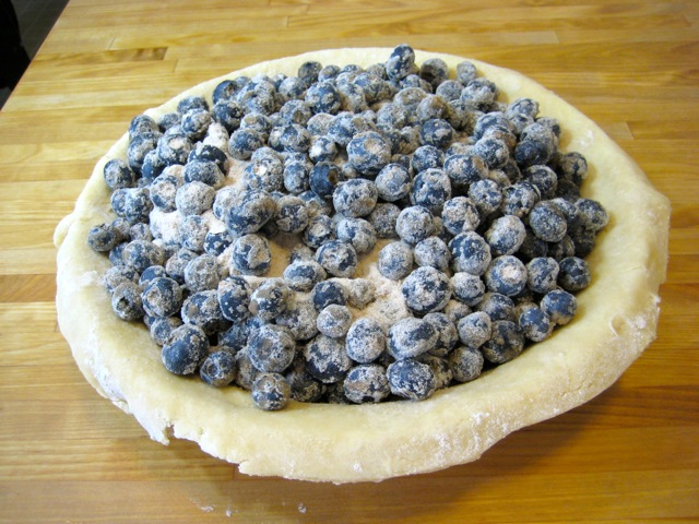 Blueberries added to pie shell