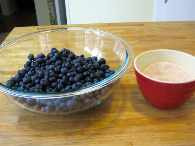 Blueberries and flour, sugar, and cinnamon mixture