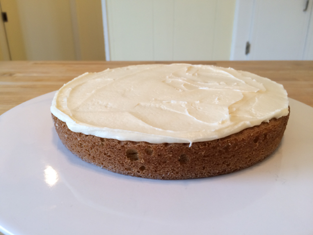 Frosting spread over bottom layer