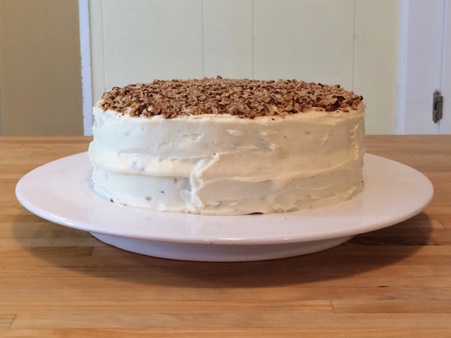 Remaining pecans added to top of cake