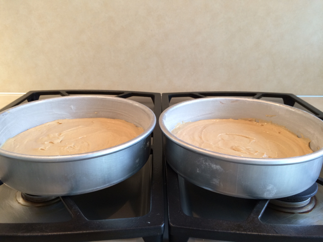 Batter in pans, ready to bake