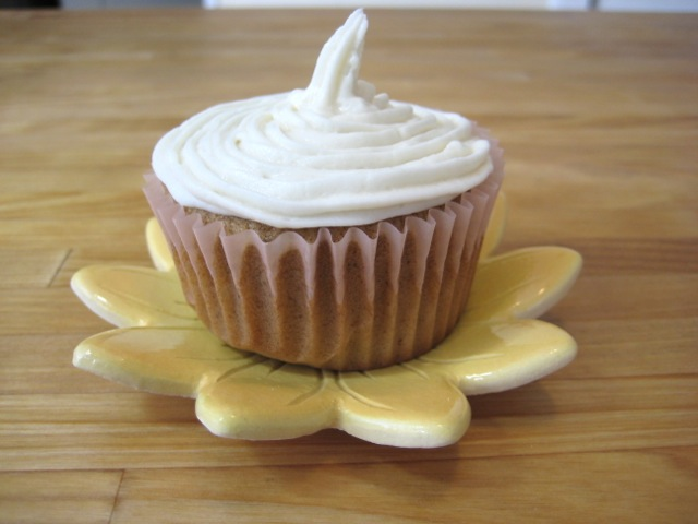 Buttercream frosting on a Spice Cupcake