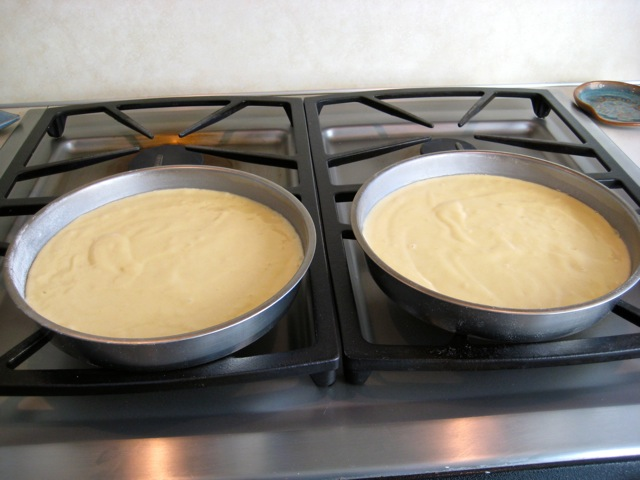 Batter in cake pans