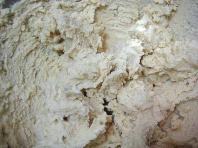 Milk and vanilla mixed in, dough ready to refrigerate