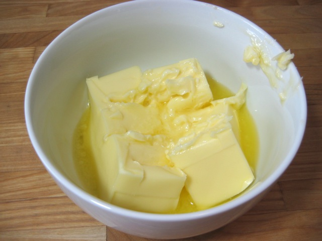 Butter partially melted