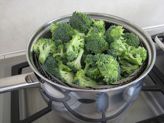 Broccoli added to steamer