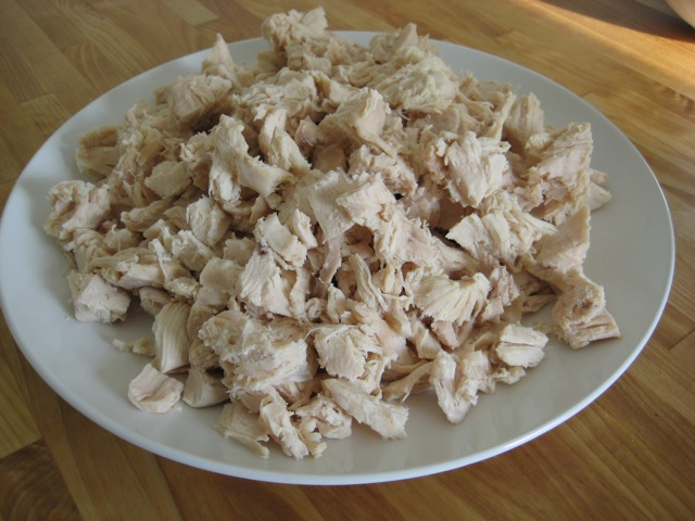 Chicken breast cooked and cut up