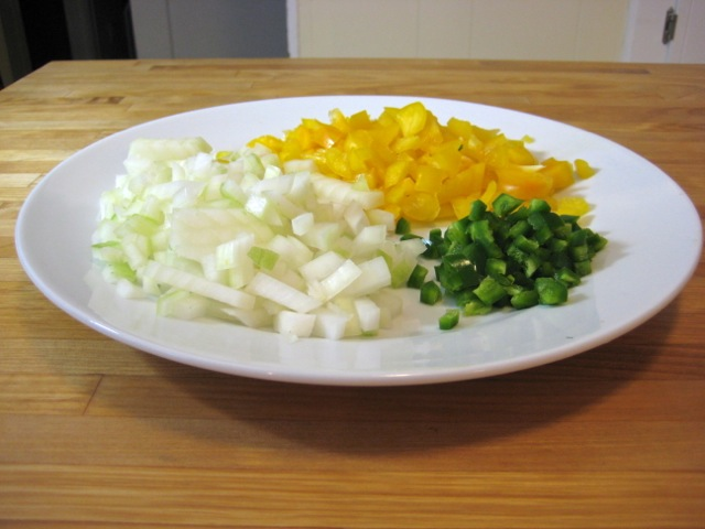 Chopped onion and peppers