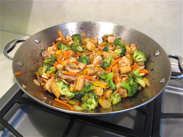 Stir fry sauce mixed in