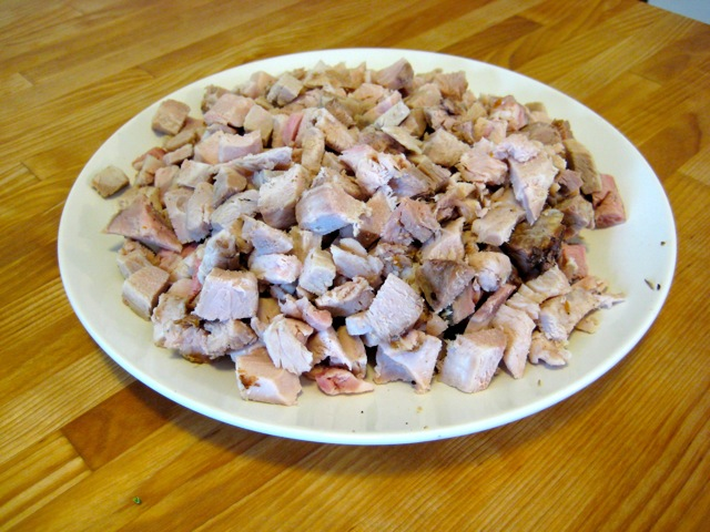 Cooked, chopped pork