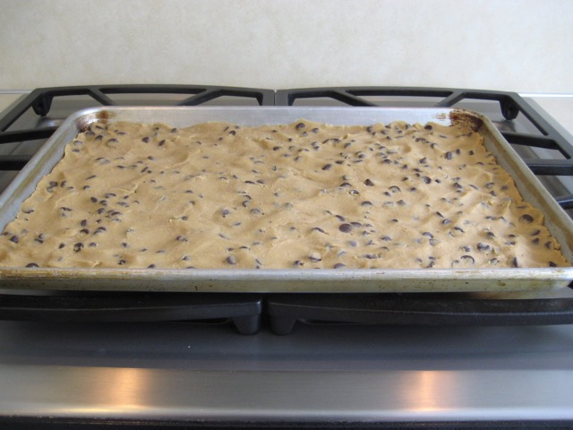 Dough pressed onto cookie sheet, ready to bake