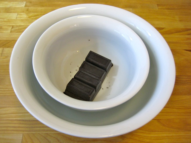 Melting the chocolate in a hot water bath