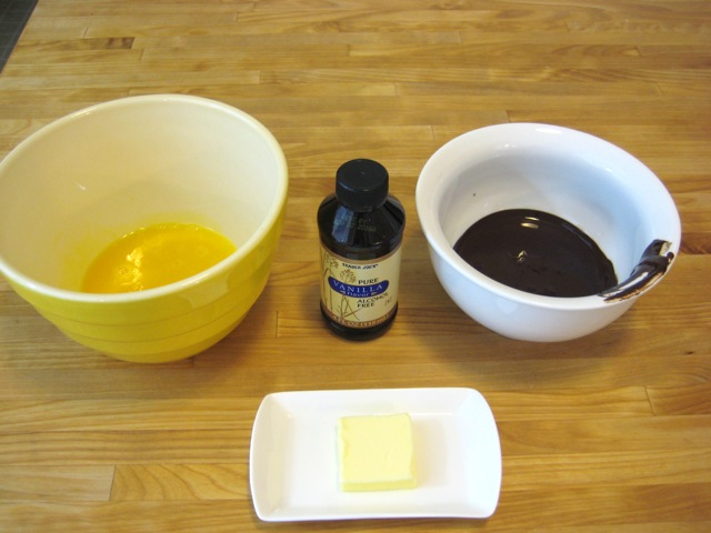Egg yolks, vanilla, melted chocolate, and butter