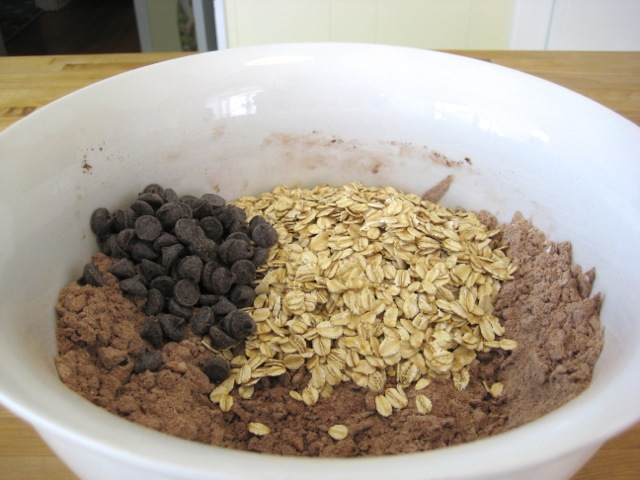 Oats, chocolate chips, and optional nuts added