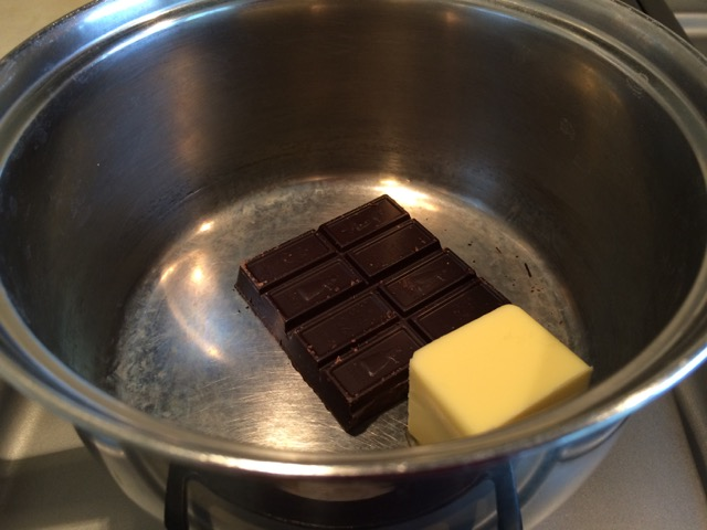 Chocolate and butter in saucepan