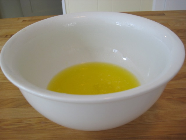 Melted butter in a bowl