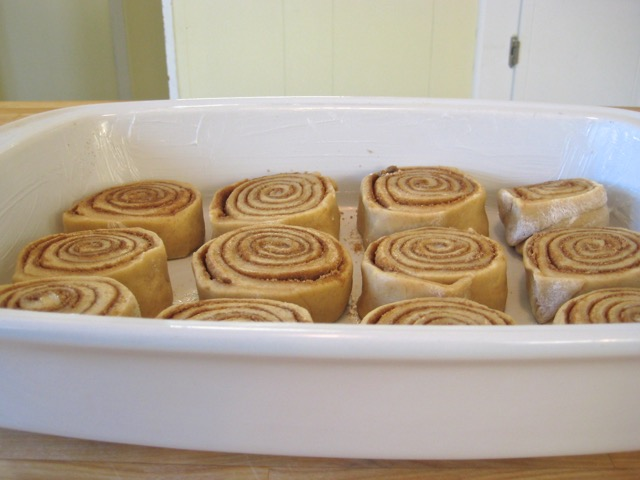 Dough slices placed in baking pan