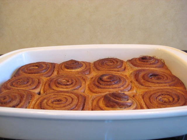 Cinnamon rolls out of the oven