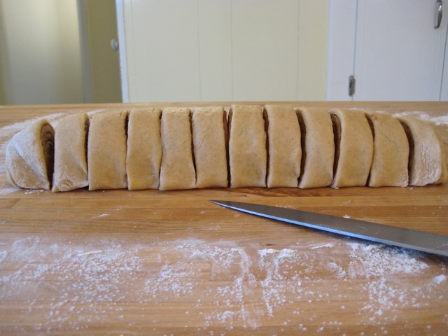 Dough sliced into 12 sections