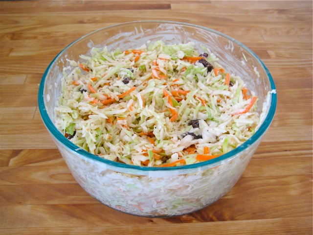 Coleslaw mixed and ready to serve
