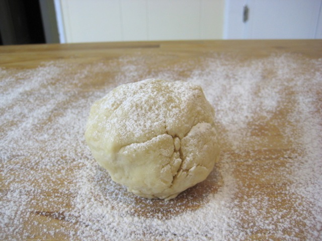 Flour sprinkled on top of dough