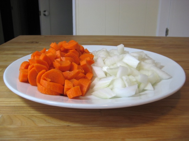 Chopped carrots and onions
