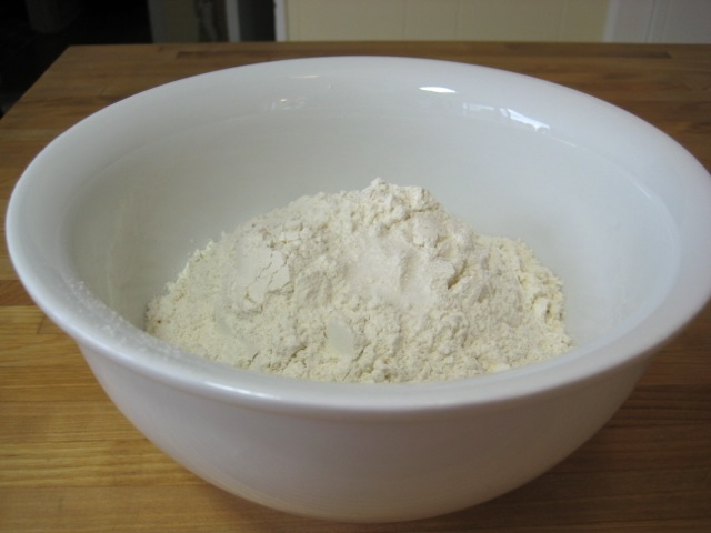 Flour, sugar, and salt in bowl