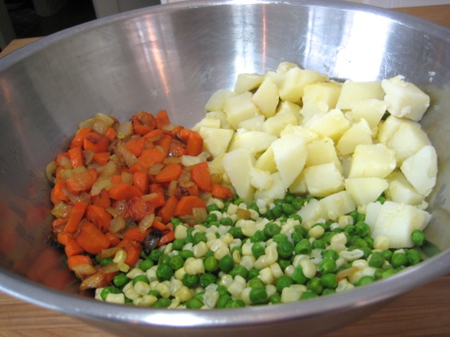 Cooked veggies in large mixing bowl