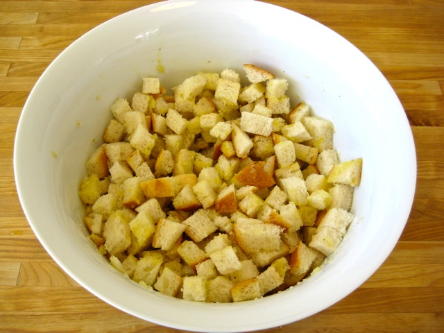 Seasoning mixed with cubed bread
