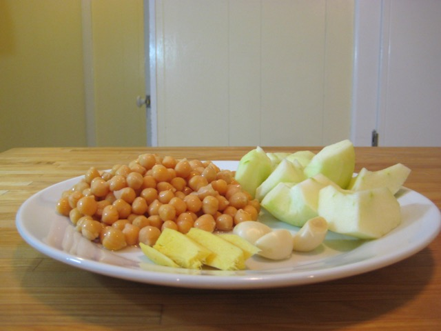 Ginger, garbanzo beans, apple, and garlic.