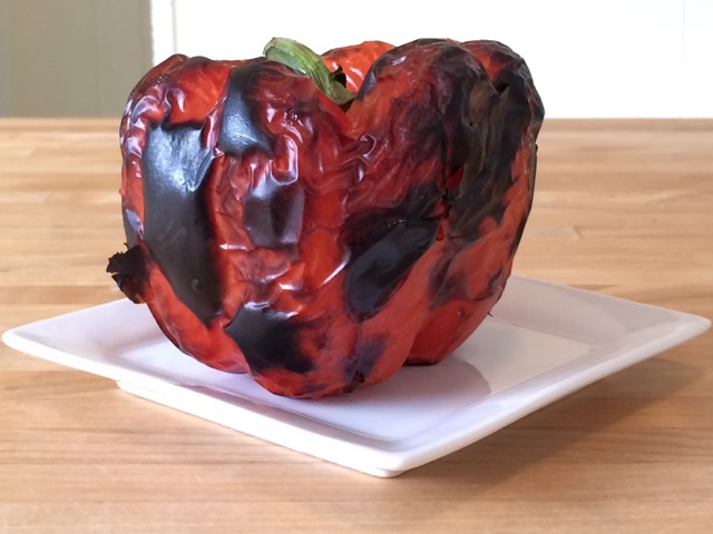 Red pepper roasted in the oven