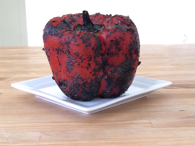 Red pepper after being roasted with gas burner