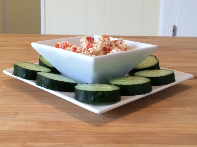 Feta spread served with cucumbers