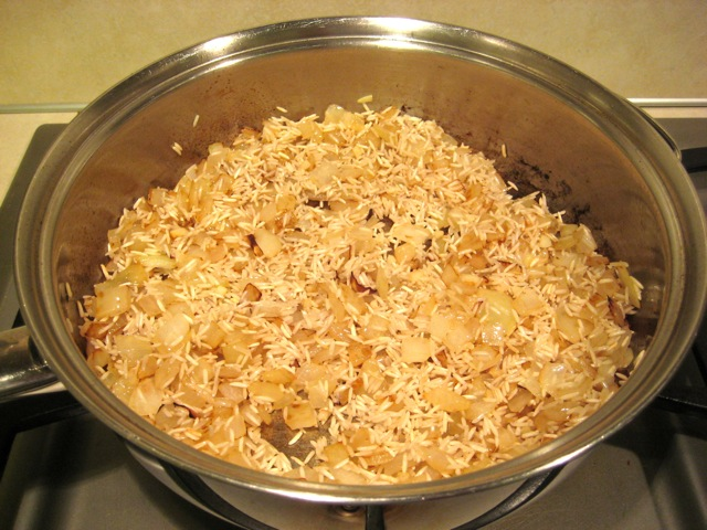 Rice mixed in and lightly browned