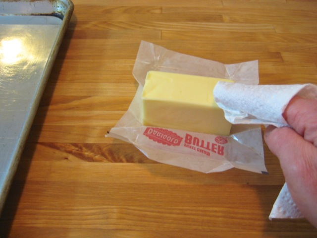 Softened butter for greasing a cooking sheet