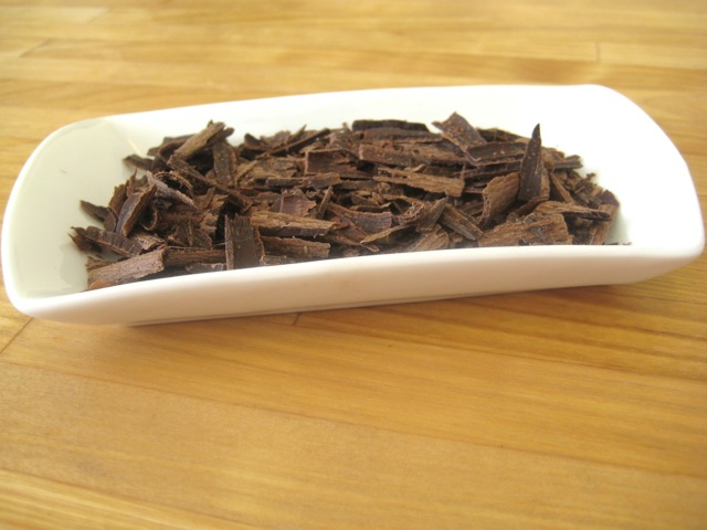 Chocolate shavings ready to sprinkle on top of pie