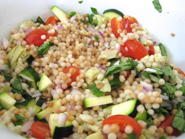 Couscous and veggies tossed