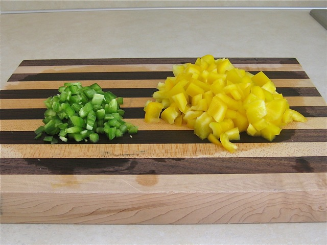 Jalapeño and yellow pepper chopped