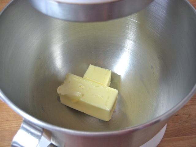 Butter in work bowl