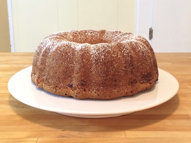 Powdered sugar sprinkled over bundt cake
