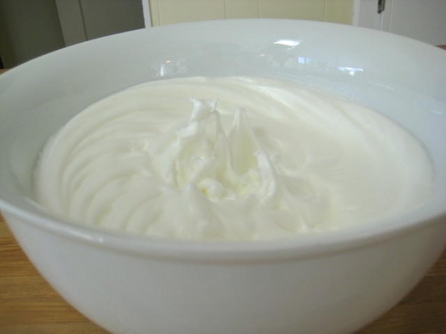 Egg whites ready to add to cake batter