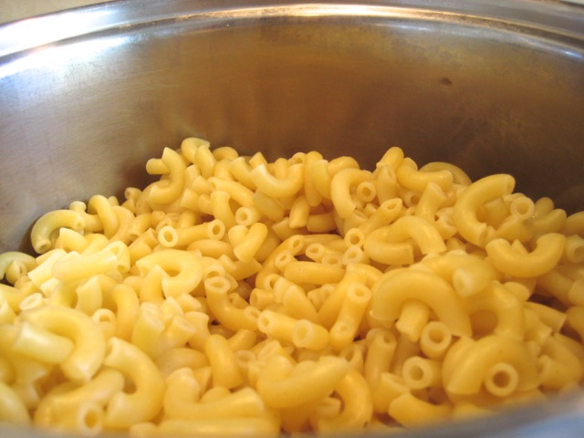 Cooked and drained macaroni