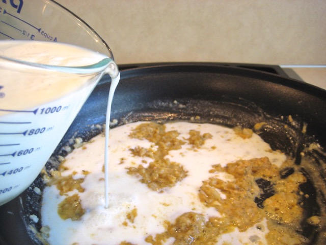 Milk added to onion and spices