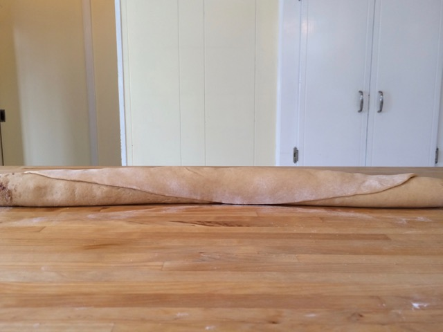 Dough rolled up into a 24-inch long log