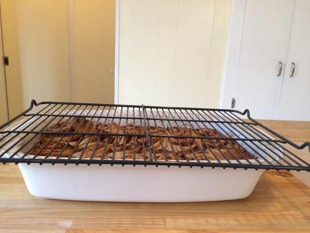 Ready to flip pan upside down onto cooling rack