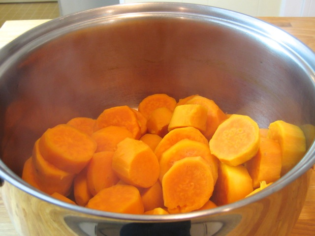 Yams cooked and drained